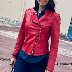 """""""ARMANI JEANS"""" Gorgeous Coral Leather Jacket"""
